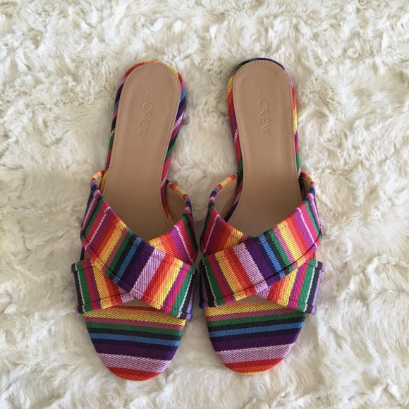 15071fa681c J. Crew Shoes - J. Crew Multistripe Cora Crisscross Sandals 8 NEW